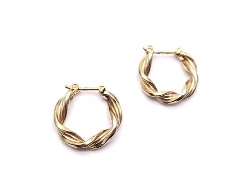 9ct Yellow Gold Twisted Hoop Earrings