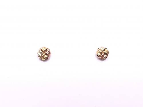 9ct Three Colour Knot Stud Earrings