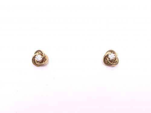 9ct Yellow Gold CZ Knot Earrings
