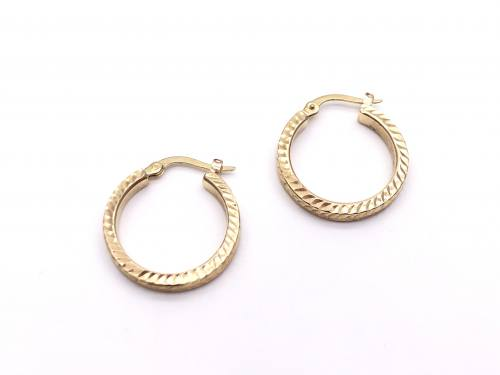 9ct Diamond Cut Hoop Earrings