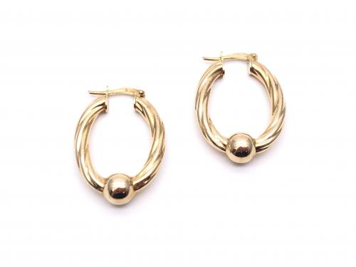 9ct Oval Twisted Hoop Earrings