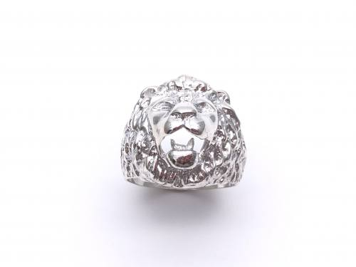Silver Lion Head Ring