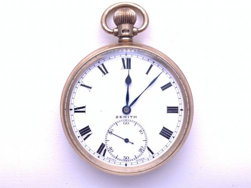 An Old 9ct Zenith Pocket Watch Birmingham 1949