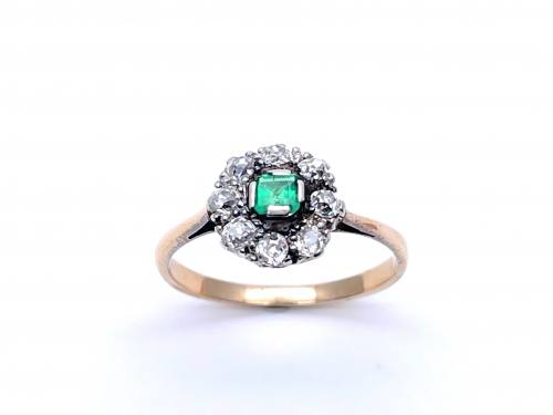 An Old Synthetic Emerald and Diamond Cluster Ring