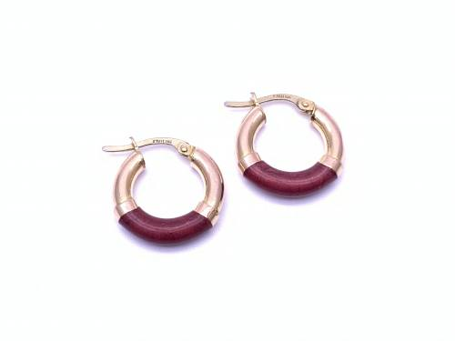 9ct Yellow Gold Coloured Hoop Earrings