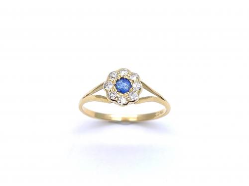 An Old Sapphire & Diamond Cluster Ring