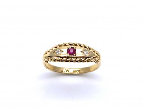 Synthectic Ruby & Diamond Ring