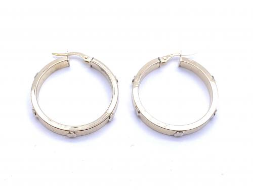9ct Screw Design Hoop Earrings 25mm