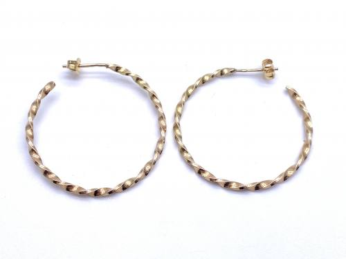 9ct Yellow Gold Hoop Earrings 30mm