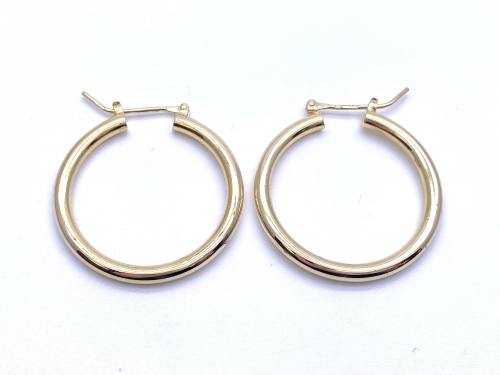 14ct Yellow Gold Hoop Earrings 27mm