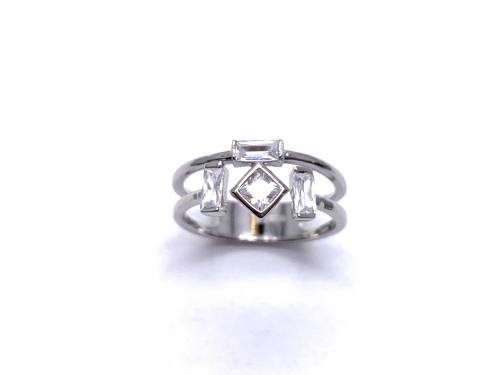 Silver Double Row White/Clear CZ Ring Q