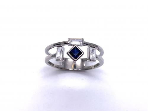 Silver Double Row Dark Blue & White CZ Ring P
