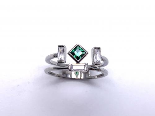 Silver Double Row Dark Green & White CZ Ring Q