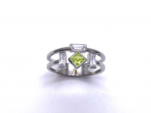 Silver Double Row Pale Green & White CZ Ring P