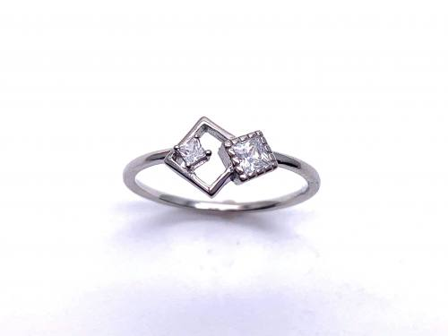 Silver White CZ Offset Square Shapes Ring O