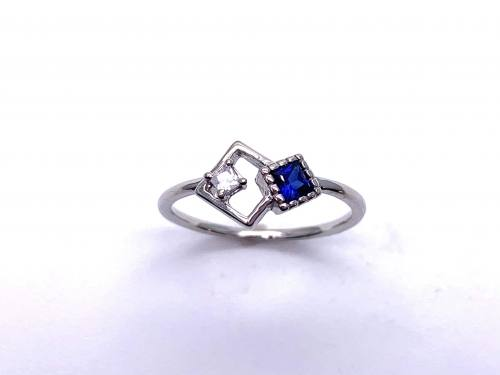Silver Blue & White CZ Offset Square Shapes Ring M