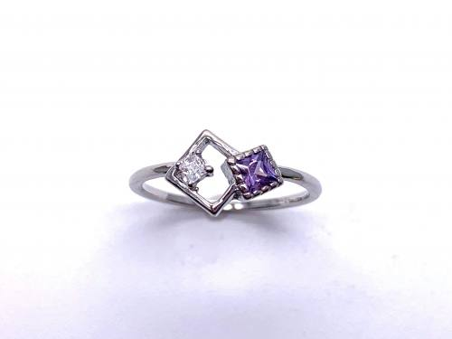 Silver Purple CZ Offset Square Shapes Ring L