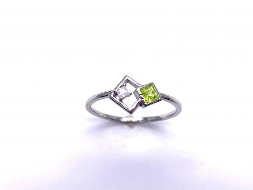 Silver Pale Green CZ Offset Square Shapes Ring H