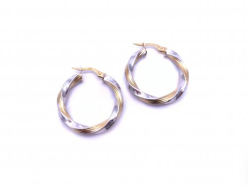 9ct Two Colour Round Hoop Earrings