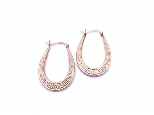9ct Greek Key Design Hoop Earrings