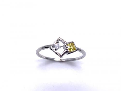 Silver Yellow CZ Offset Square Shapes Ring R