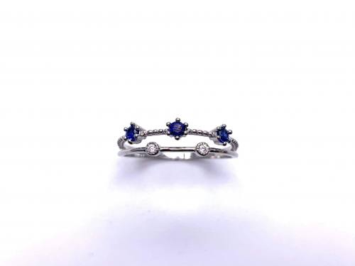 Silver Double Row Dark Blue & White CZ Ring T