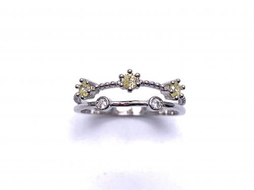 Silver Double Row Yellow & White CZ Ring I