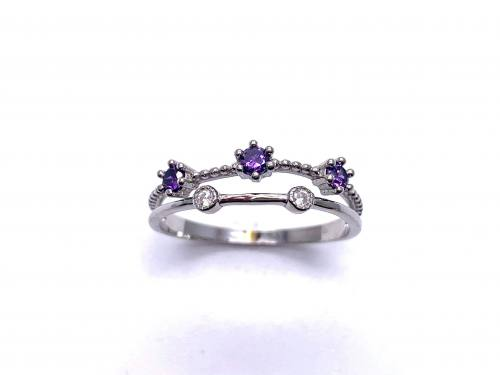Silver Double Row Purple & White CZ Ring O