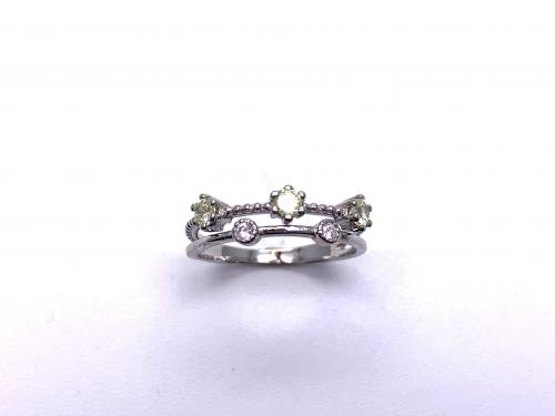 Silver Double Row Pale Green & White CZ Ring M