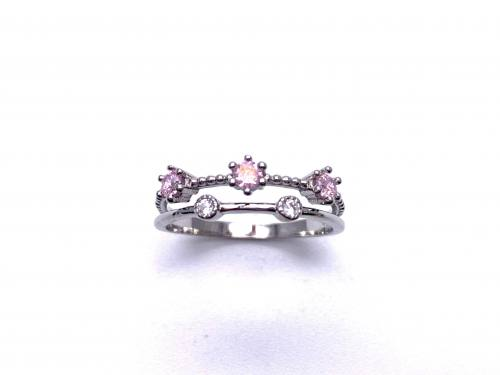 Silver Double Row Pink & White CZ Ring L
