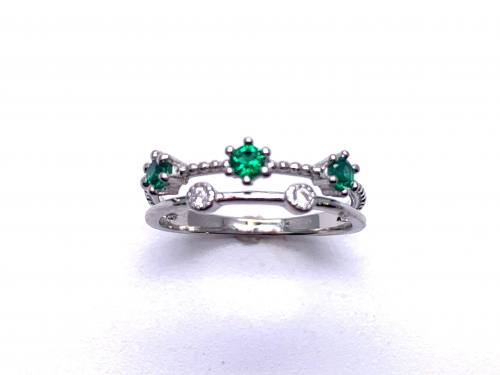 Silver Double Row Dark Green & White CZ Ring Y