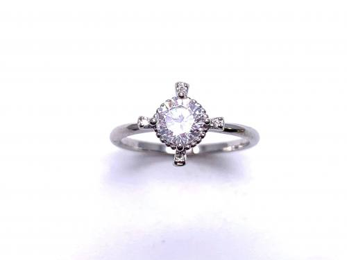 Silver CZ Fancy Solitaire Ring U