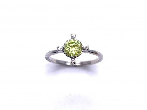 Silver Pale Green CZ Fancy Solitaire Ring K