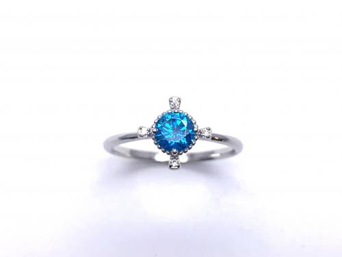 Silver Light Blue CZ Fancy Solitaire Ring N