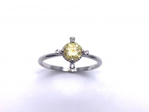 Silver Yellow CZ Fancy Solitaire Ring J
