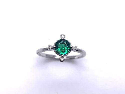 Silver Dark Green CZ Fancy Solitaire Ring I