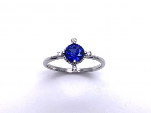 Silver Dark Blue CZ Fancy Solitaire Ring K
