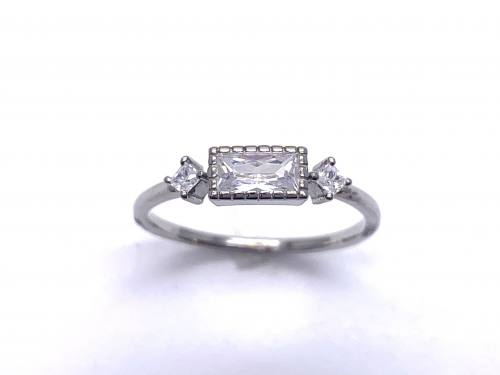 Silver CZ Three Stone Ring P