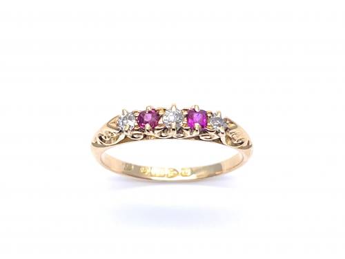 Edwardian 18ct Ruby and Diamond 5 Stone Ring