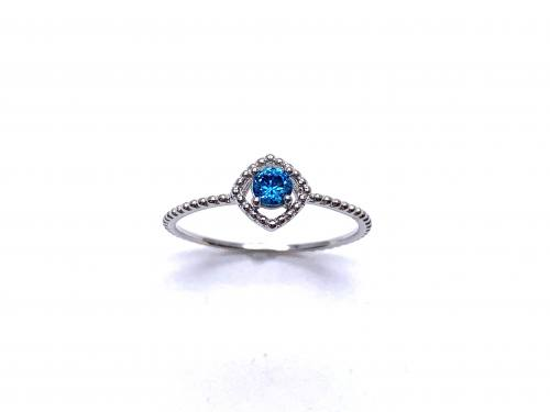 Silver Light Blue CZ Solitaire Rope Effect Ring J