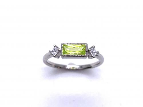 Silver Light Green & White CZ Three Stone Ring J