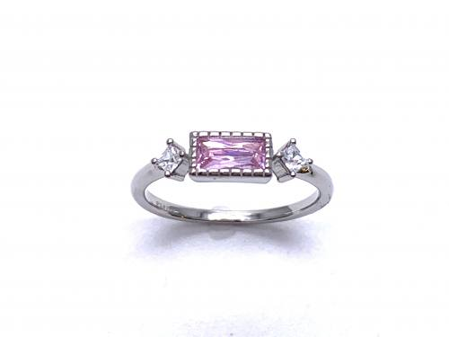 Silver Pink & White CZ Three Stone Ring L