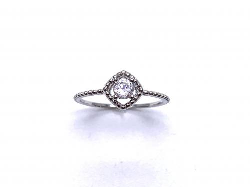 Silver White CZ Solitaire Kite Design Ring K