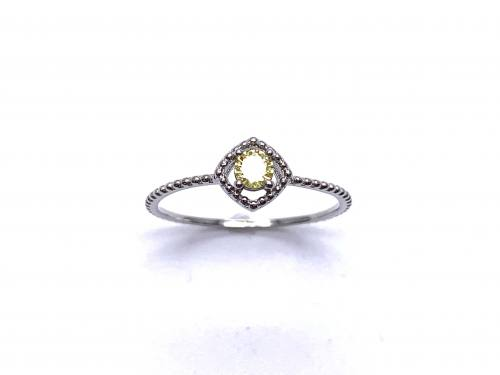 Silver Yellow CZ Solitaire Rope Effect Ring I