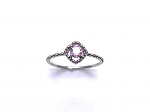 Silver Pink CZ Solitaire Rope Effect Ring L