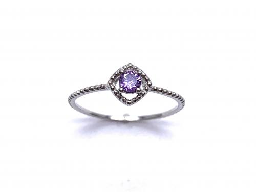 Silver Purple CZ Solitaire Rope Effect Ring M
