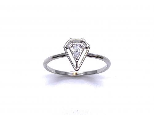 Silver White CZ Solitaire Kite Design Ring P