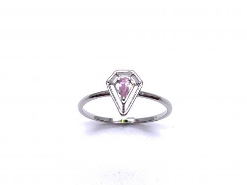 Silver Pink CZ Solitaire Kite Design Ring K
