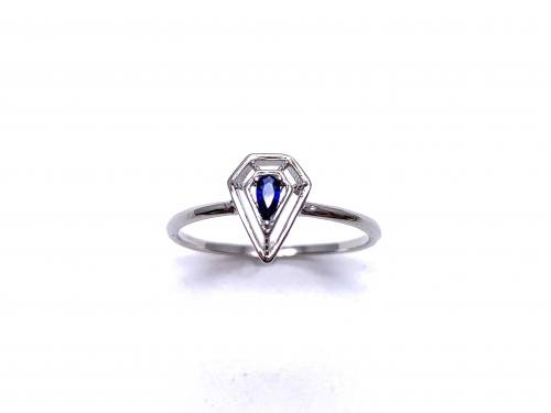 Silver Dark Blue CZ Solitaire Kite Design Ring L