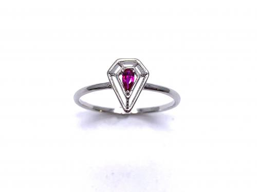 Silver Red CZ Solitaire Kite Design Ring J
